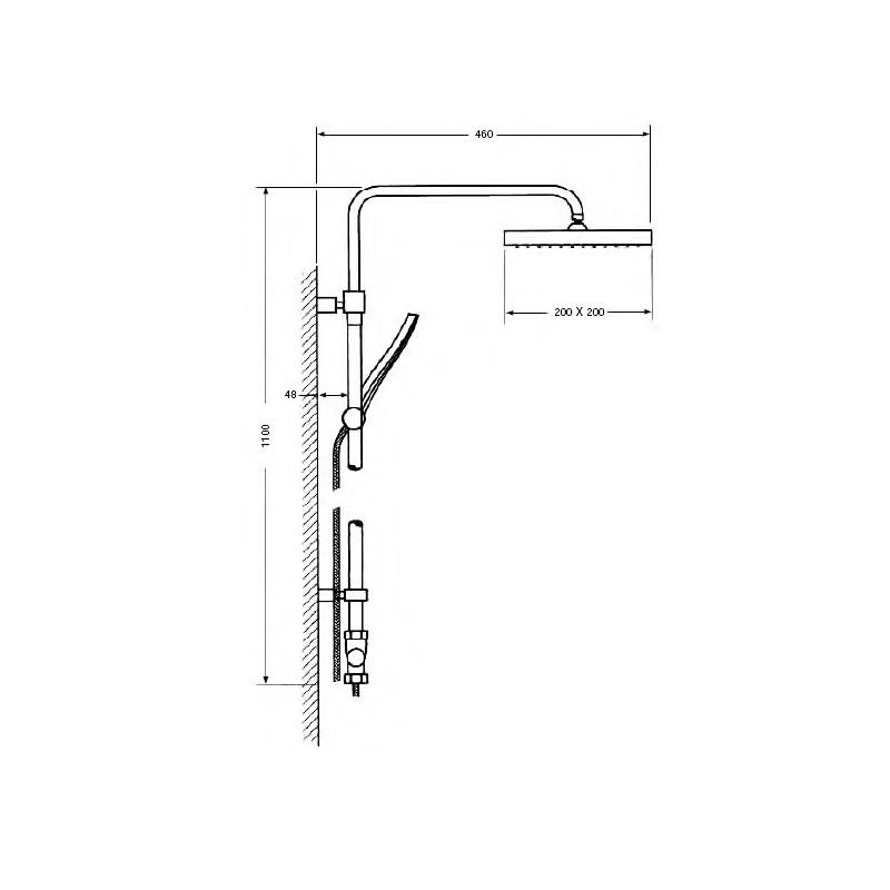 40d542c83e7 ... Columna de ducha mural sin grifo serie 1000 suministros for Columna  ducha sin grifo ...