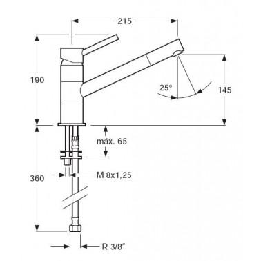 Grifo monomando para fregadero caño largo Serie 1100