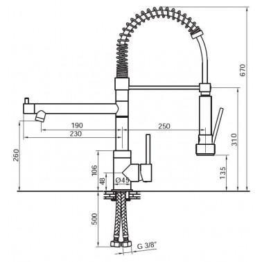 Grifo monomando profesional para fregadero industrial Serie 1100