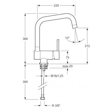 Grifo monomando de fregadero con caño abatible Serie 1100