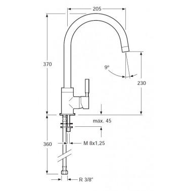 Grifo de cocina monomando para fregadero con caño giratorio Serie 1100