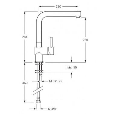 Grifo de cocina monomando para el fregadero salida de agua orientable Serie 1101
