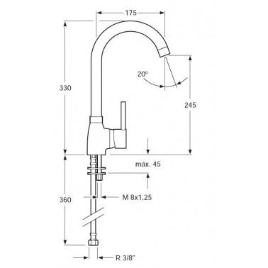 Grifo de cocina monomando para fregadero caño giratorio Serie 1100