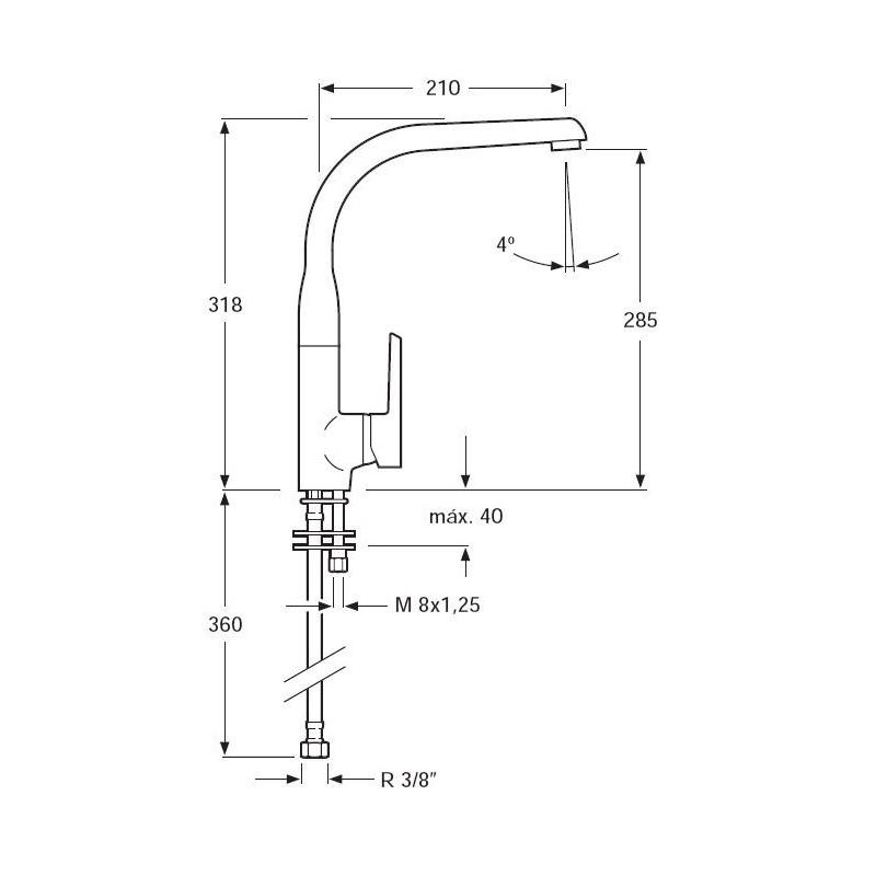 Grifo de cocina monomando para fregadero de caño fundido Serie 1200