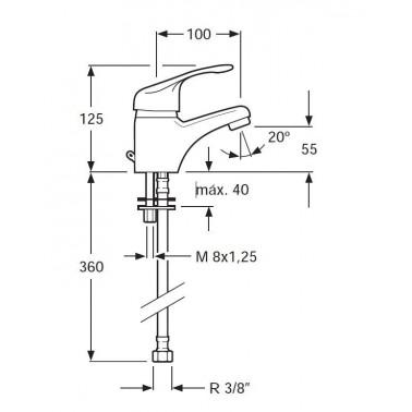 Grifo monomando para lavamanos Serie 1300