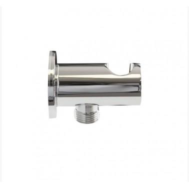 Toma de agua a pared salida flexo ½ con soporte incorporado Galindo