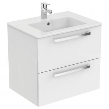 Mueble de 50 con dos cajones en blanco brillo modelo Tempo Ideal Standard