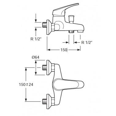 Grifo monomando de ducha y baño con Ecosytem Serie 1400