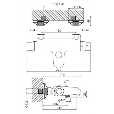 Grifo termostático para baño y ducha mural Serie 1400