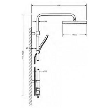 Columna de ducha extensible con rociador redondo sin grifo Serie 1400