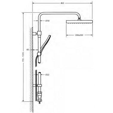 Columna de ducha telescópica con rociador cuadrado sin grifo Serie 1400
