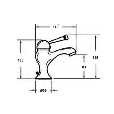 Grifo monomando para lavabo Serie 1500