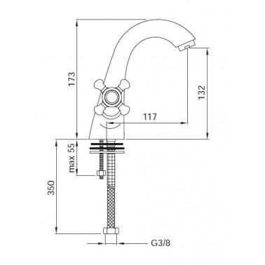 Grifo monoblock para el lavabo Serie 1700
