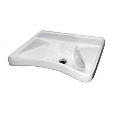 Lavabo ergonómico fabricado en porcelana vitrificada blanca