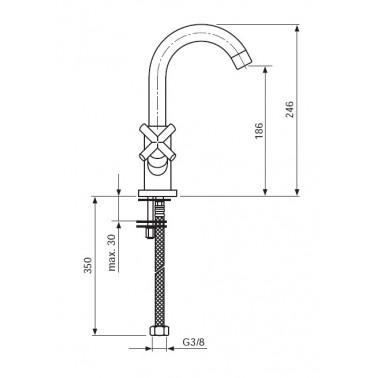 Grifo monoblock para el lavabo Serie 1800