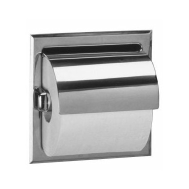 Bobrick satin finish recessed toilet roll holder with cover