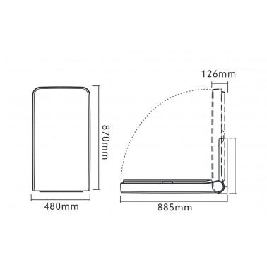 Cambiador de pañales mural abatible vertical medidas y dimensiones