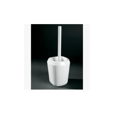 Escobillero simple fabricado en porcelana vitrificada blanca Komercia