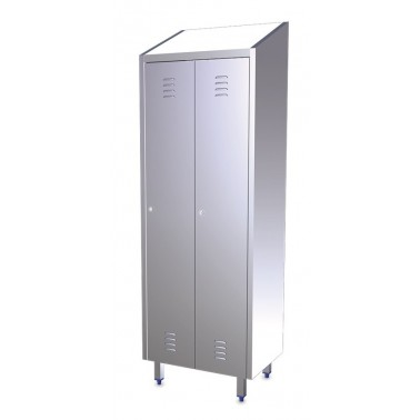 Taquilla de dos puertas fabricada en acero inoxidable de 680x480x2010 mm Fricosmos