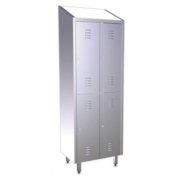 Taquilla de cuatro puertas y dos cuerpos de acero inoxidable de 680x480x2010 mm Fricosmos