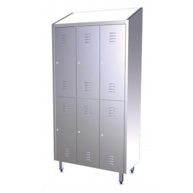 Taquilla de seis puertas y tres cuerpos de acero inoxidable de 985x480x2010 mm Fricosmos
