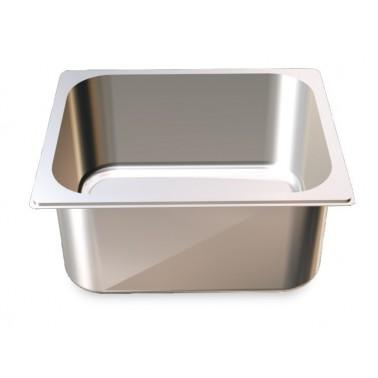 Cubeta Gastronorm 1/2 lisa de acero inoxidable AISI 304 de 325x265x100 mm Fricosmos