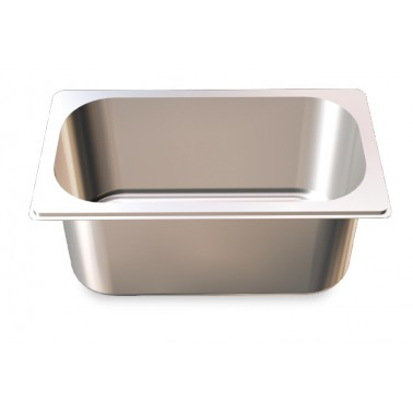 Cubeta Gastronorm 2/4 lisa de acero inoxidable AISI 304 de 530x162x20 mm Fricosmos