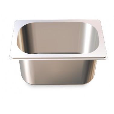 Cubeta Gastronorm 1/4 lisa de acero inoxidable AISI 304 de 265x162x100 mm Fricosmos