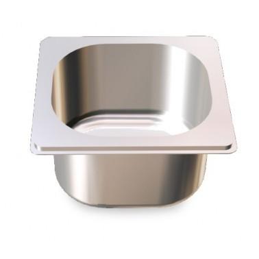 Cubeta Gastronorm 1/6 lisa de acero inoxidable AISI 304 de 176x162x100 mm Fricosmos