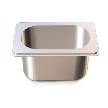 Cubeta Gastronorm 1/9 lisa de acero inoxidable AISI 304 de 176x108x65 mm Fricosmos