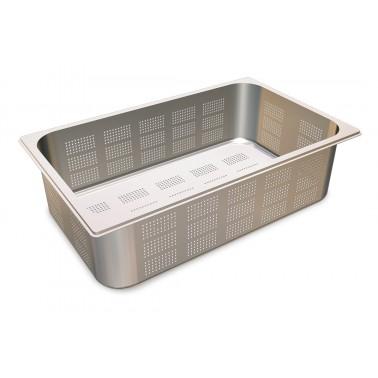 Cubeta Gastronorm 1/1 perforada de acero inoxidable AISI 304 de 530x325x100 mm Fricosmos