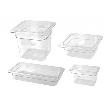 Cubeta Gastronorm 1/4 fabricada en plástico de policarbonato de 265x162x200 mm Fricosmos