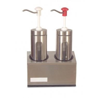 Conjunto de dos dosificadores de salsas con porción de salsa regulable Fricosmos