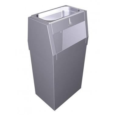 Papelera con cenicero fabricada en acero inoxidable diseñada para exteriores Fricosmos