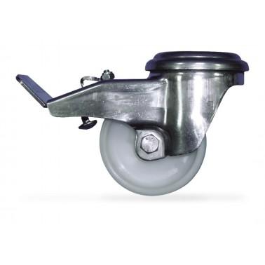 Rueda con freno fabricada en acero inoxidable con rueda de nylon 80x33x106 mm Fricosmos