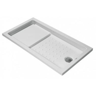 Plato de ducha de 140x80 mm con ala de 4 cm modelo Strado marca Unisan