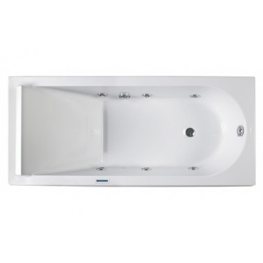 Bañera de hidromasaje blanca con kit blanco y motor izda. de 180x80 mm Reflex marca Unisan