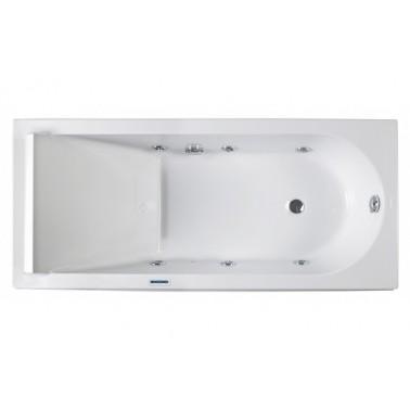 Bañera de hidromasaje blanca con kit cromo y motor dcha. de 180x80 mm Reflex marca Unisan