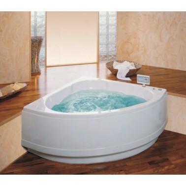 Bañera de hidromasaje blanca de 135x135 mm con motor derecho y sistema top modelo Rita marca Unisan