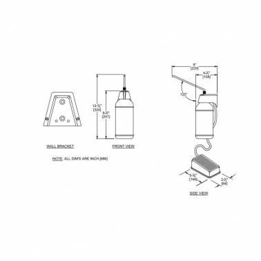 Dispensador de pedal para gel hidroalcoholico y jabón medidas y dimensiones
