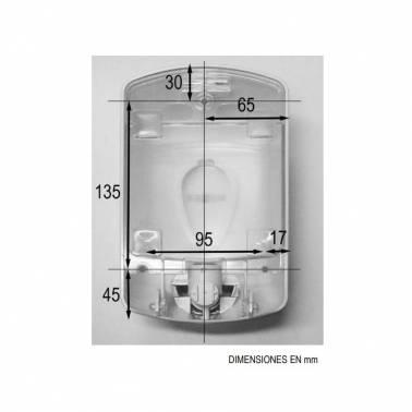 Dosificador de gel desinfectante fabricado en plástico blanco dimensiones