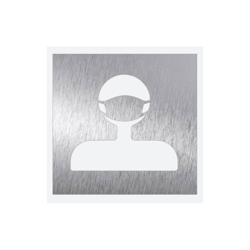 pictograma mascarilla covid en acero inoxidable