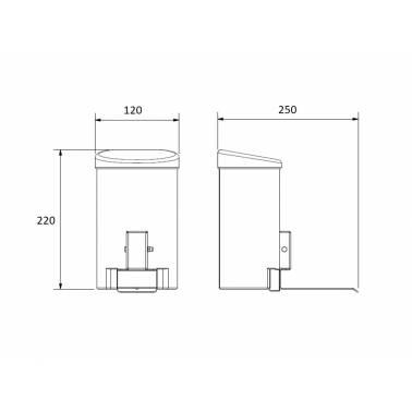 dosificador gel hidroalcoholico de accionamiento por el codo  medidas