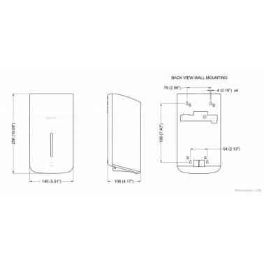 Medidas dispensador automatico gel desinfectante