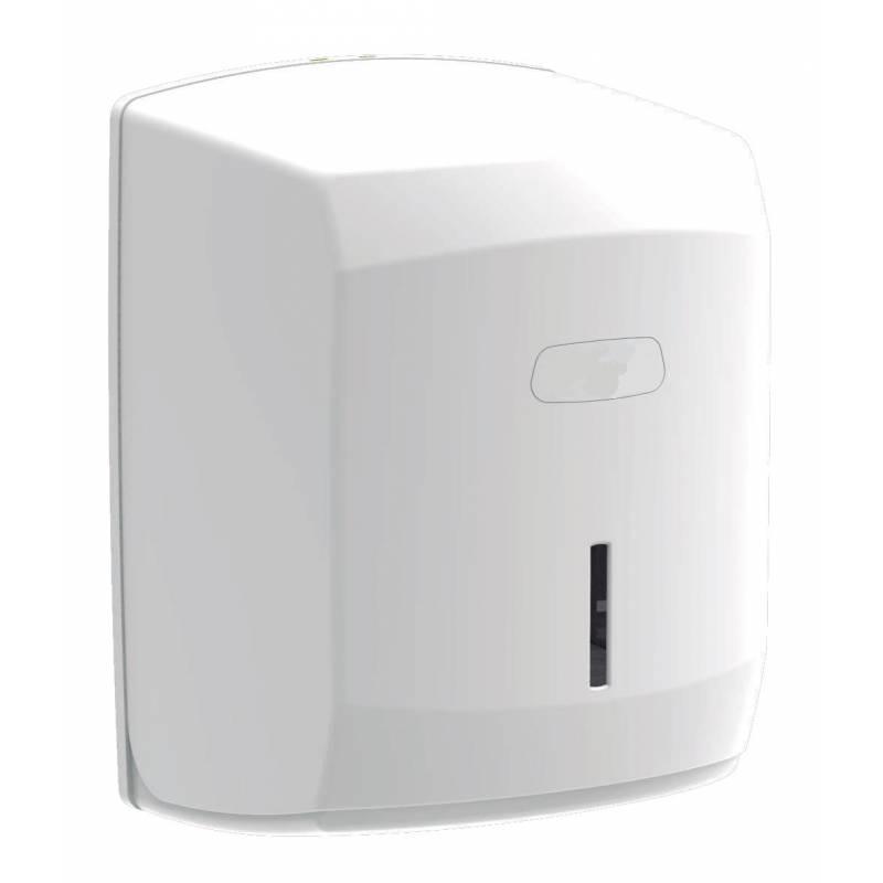Dispensador de papel tipo mecha fabricado en ABS blanco