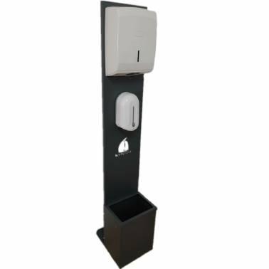 columna desintefactante con dosificador automatico, dispensador de papel y papelera