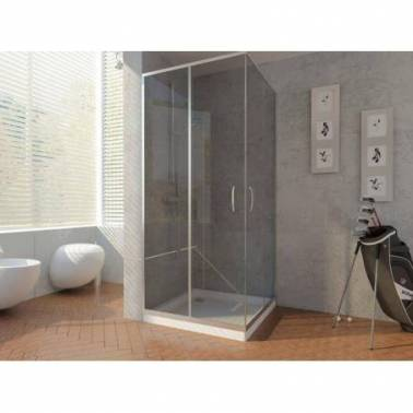 Mampara de ducha angular con doble puerta corredera de 70x80cm Komercia