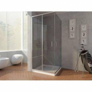 Mampara de ducha angular con doble puerta corredera de 80x70cm Komercia