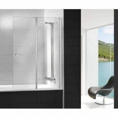 Mampara para bañera con un panel fijo y una puerta plegable Komercia