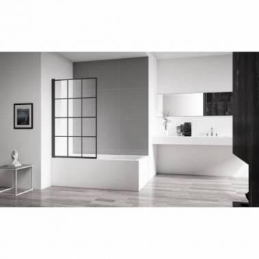 Mampara para bañera con bandas decorativas en color negro Komercia